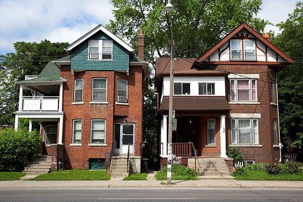 图片标题:老,维多利亚时代风格,红砖,独栋别墅,道路,多伦多,安大略省