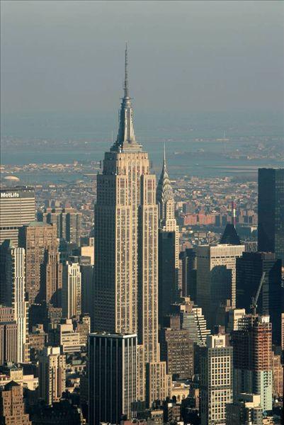 航拍,帝国大厦,克莱斯勒大厦,直升飞机,落日,纽约,美国