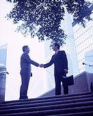 管理人员,握手,上面,楼梯,建筑,背景