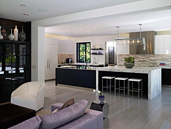 开放式格局的客厅和厨房
