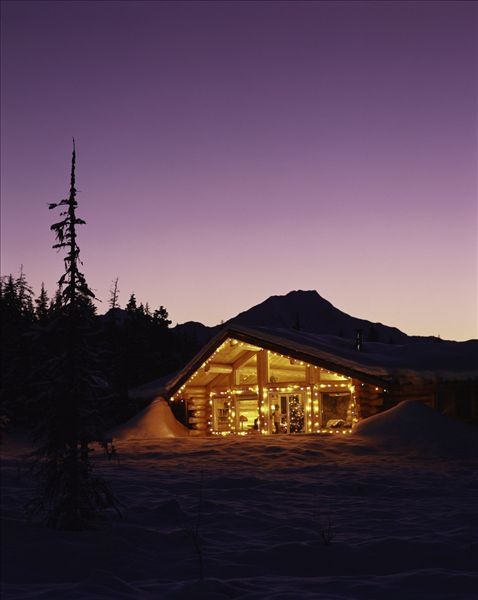 图片标题:木屋,圣诞灯光