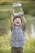 亚洲人,男孩,拿着,青蛙,罐