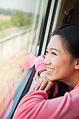 中国人,女人,向外看,列车,窗户