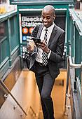 黑人,商务人士,地铁,入口