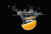 橙子片,落下,水