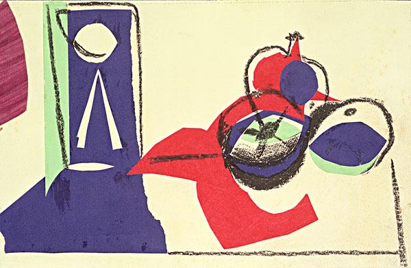 图片标题:静物,水果,抽象拼贴画,纸