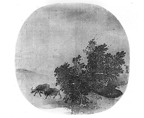 风景,水牛,宋朝,涂绘,丝绸,黑白图片