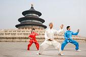 中国武术--有三个人在天坛祈年殿前练太极