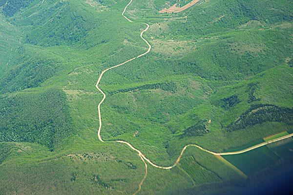 航拍绿色田野