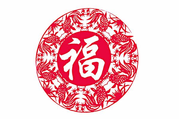 """山西平遥古城的窗花剪纸""""金鱼拥福"""""""