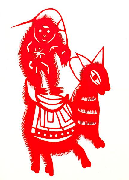 中国剪纸动物猴子骑驴