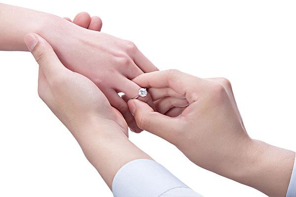 男人给女人戴戒指图片