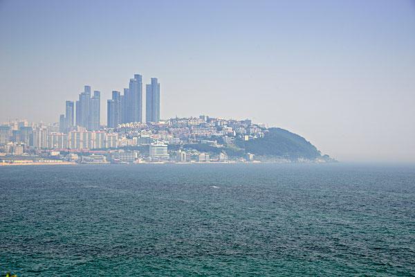 韩国釜山城市风光,海湾