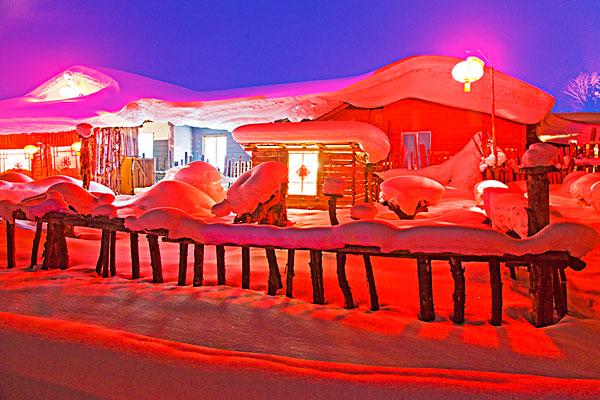 雪乡,双峰林场,村庄,风景,夜晚,黑龙江,牡丹江