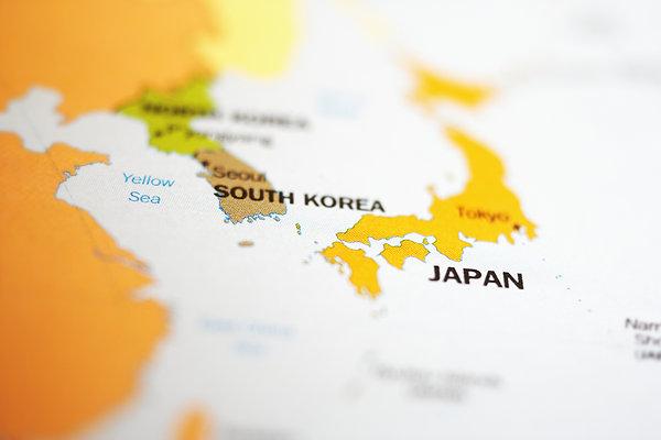 地图,日本,韩国