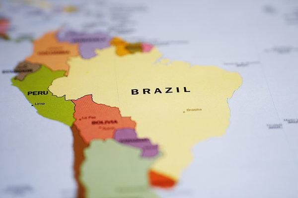 地图,南美,巴西