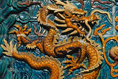 特写,光滑面,陶瓷,壁画,中国,商会,新加坡
