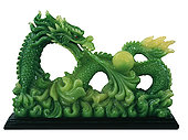 绿色,龙,小雕像
