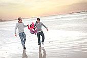 同性戀,情侶,晃動,孩子,海灘
