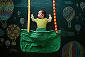 女婴,睡觉,绘画,黑板,俯视