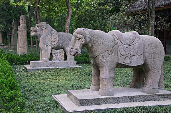 古老,动物,雕塑,神道,墓地,成都,四川,中国