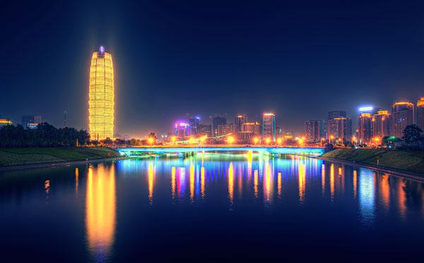 河南郑州城市建筑夜景