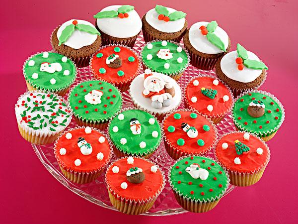 盘子,满,种类,圣诞节,杯形蛋糕