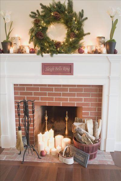 壁炉,装饰,圣诞节,客厅
