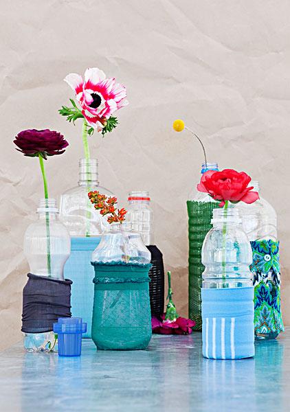 塑料瓶,装饰,残余,长袜,花瓶