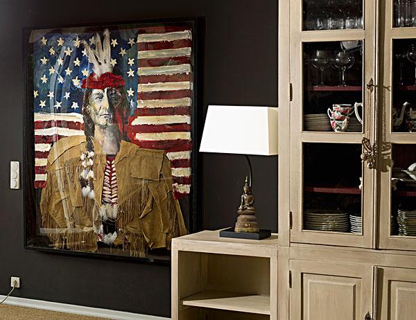 拼贴画,美洲印地安人,星条旗