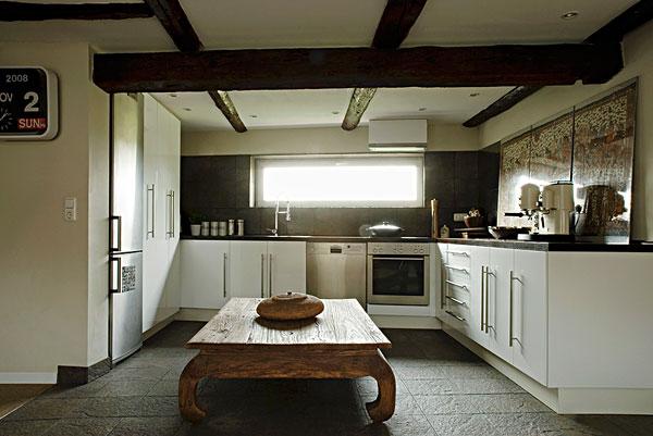 平面布置图,厨房,白色,柜子,天花板,乡村,木桌