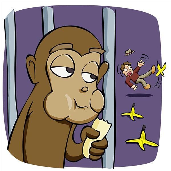 猴子,吃,香蕉,一个,男人,滑,香蕉皮