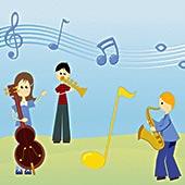 两个男孩,女孩,玩,乐器