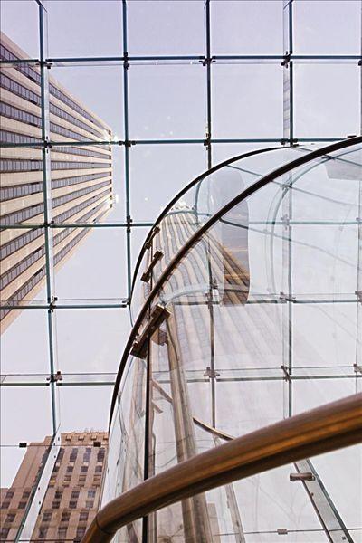 仰视,摩天大楼,玻璃天花板