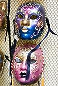 特写,两个,化妆舞会,面具,威尼斯,意大利