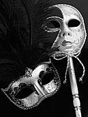 两个,银,威尼斯,面具