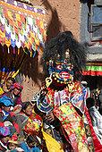 僧侣,穿戴,恐惧,蓝色,面具,魔鬼,节日,彩色,装饰,西藏,中国