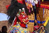 僧侣,穿戴,恐惧,红色,面具,魔鬼,节日,彩色,装饰,西藏,中国