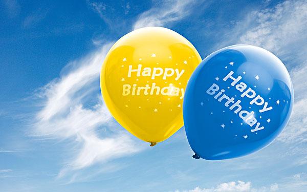 黄色,蓝色,气球,文字,生日快乐,蓝天