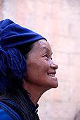头像,侧面,女人,哈尼族,种族,群体,蓝色,头饰,靠近,心计,元阳,云南,共和国,亚洲