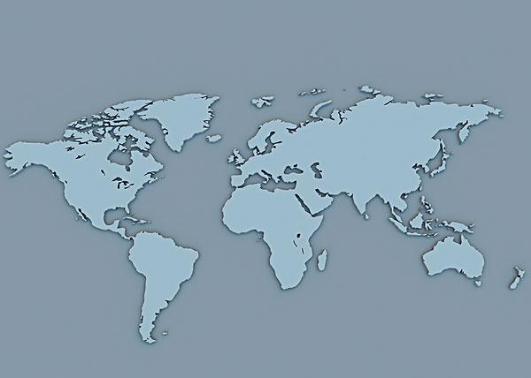 >世界地图剪影