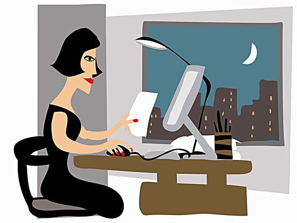 办公室,迟,夜晚