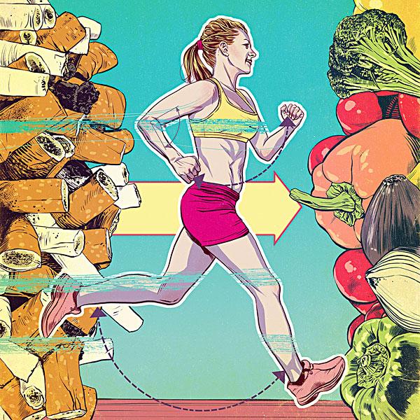 女人,跑,变化,吸烟,健康生活