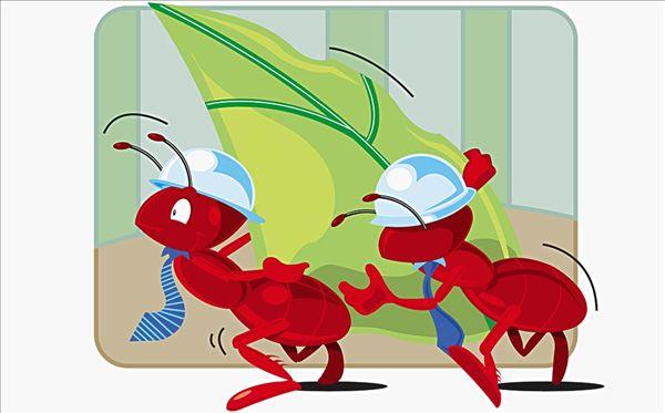 蚂蚁背树叶矢量图
