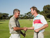 两个,成人,握手,高尔夫球场