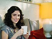 年轻,女人,肖像,咖啡,喝咖啡