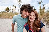 年轻,情侣,海滩,肖像