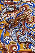 龙,浮雕,皇宫,色调,越南