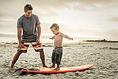 男青年,教育,儿子,冲浪,海滩