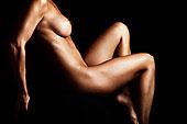 裸女,倚靠,黑色背景